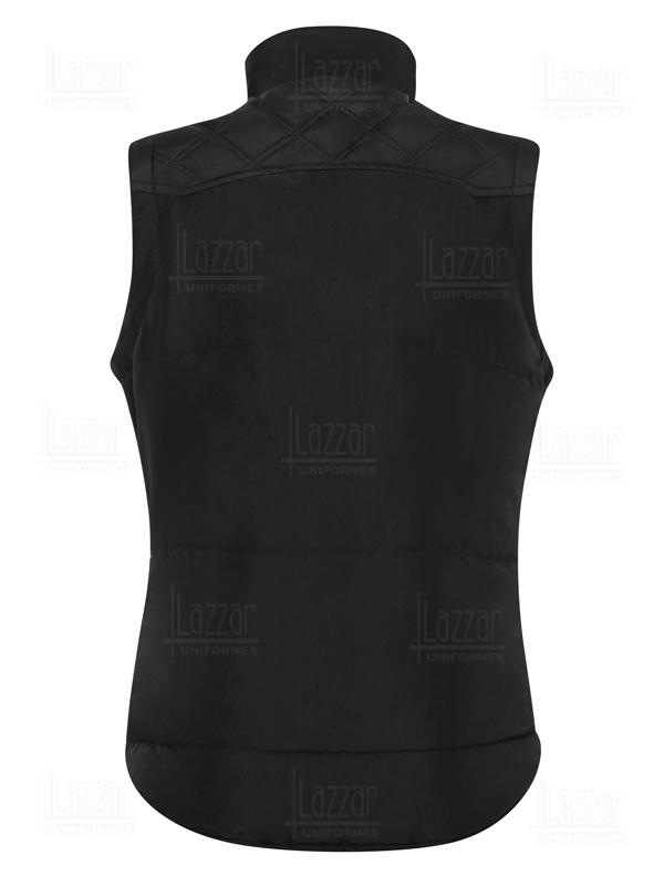 Chaleco impermeable America color negro vista de la espalda
