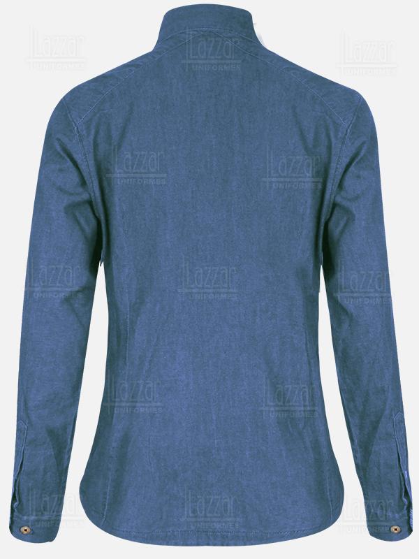 Blusa de mezclilla obscura mil rayas parte de la espalda