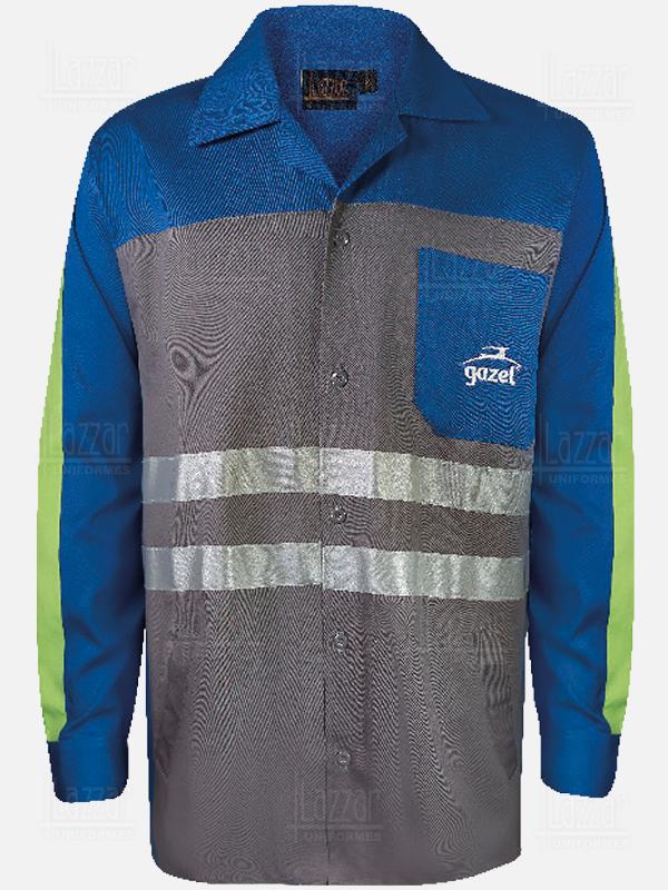 Camisola con cintas reflejantes para caballero azul