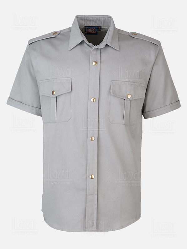 Camisola para policia color gris parte de la espalda