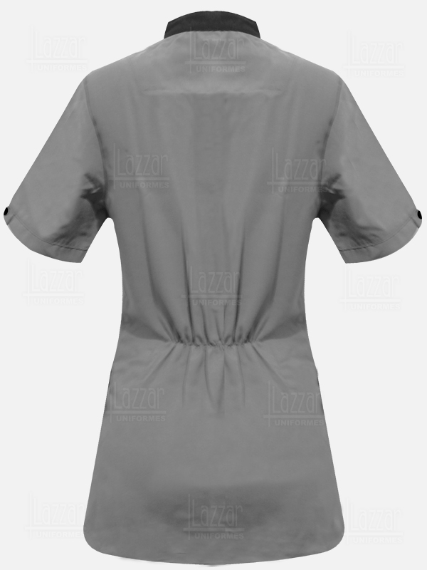 Bata para camarista  mangas cortas color gris